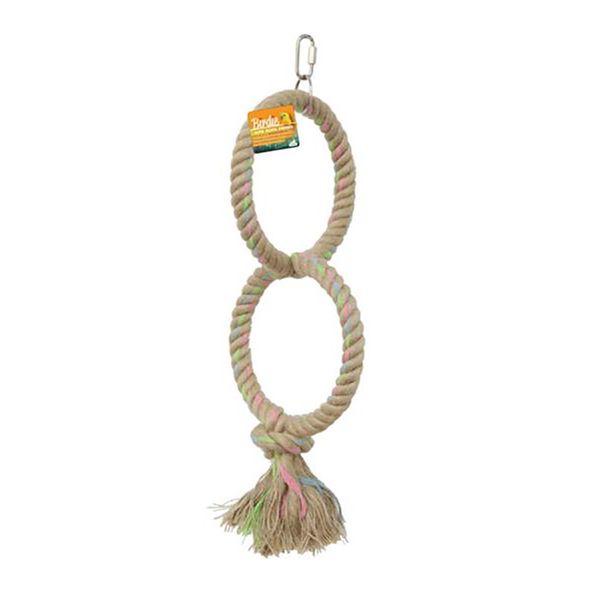 jute parrot swing twin ring, parrotbox pet supplies