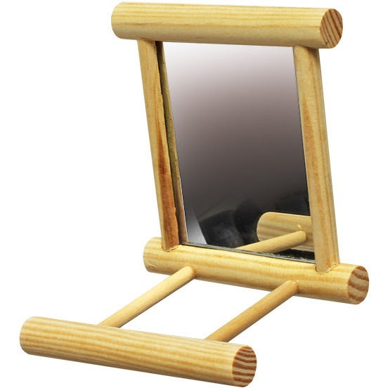 Wooden Perch with Mirror - PARROTBOX PET SUPPLIES