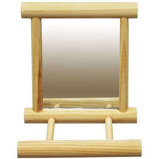 Mirror with Wooden Perch-PARROTBOX PET SUPPLIES