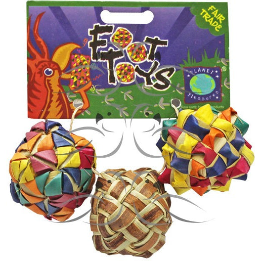 Square Woven Foot Toy 3 Pack-PARROTBOX PET SUPPLIES