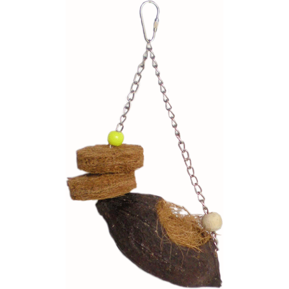 Cocoa Pod Swing Bird Toy-PARROTBOX PET SUPPLIES