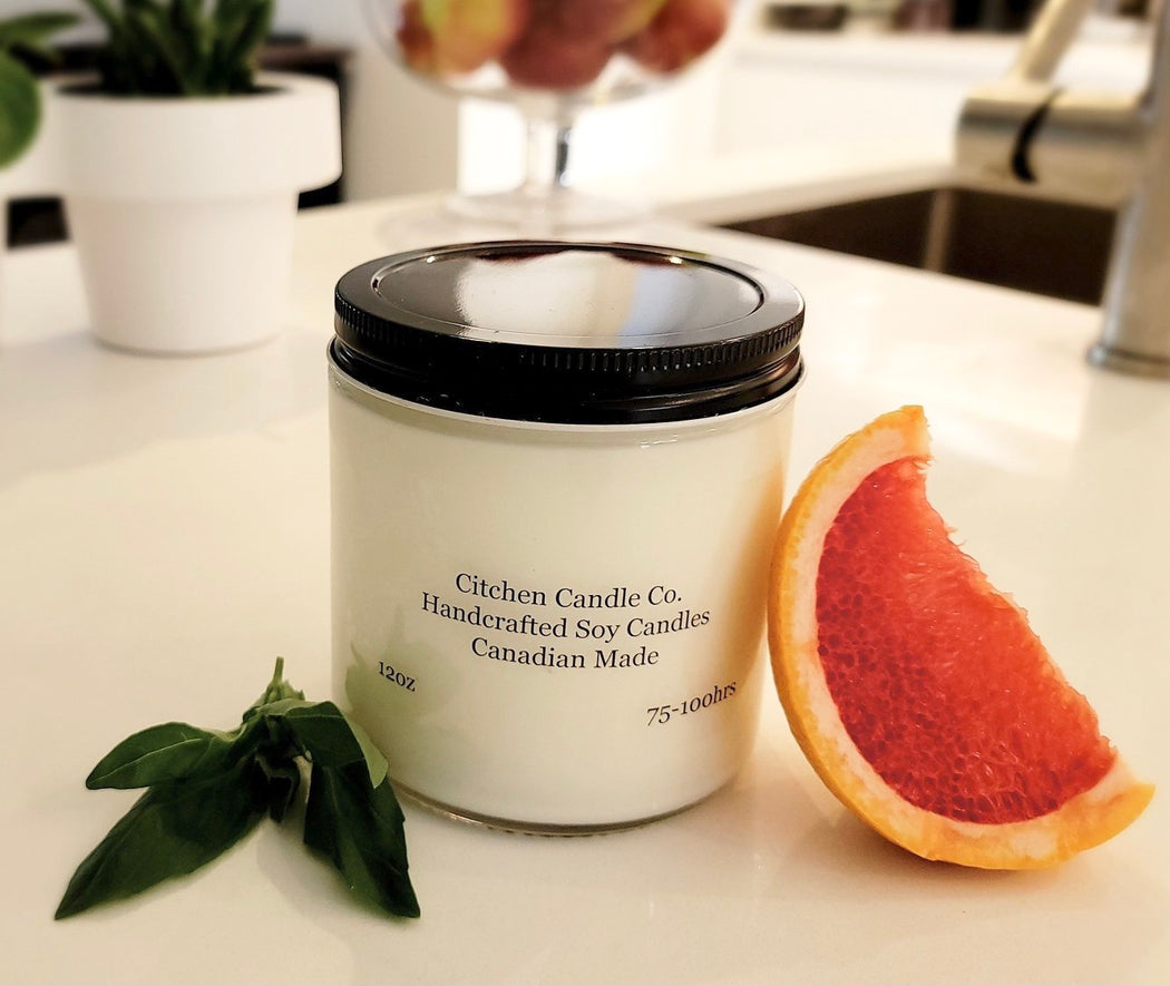 12oz Grapefruit Basil Scented Soy Candle