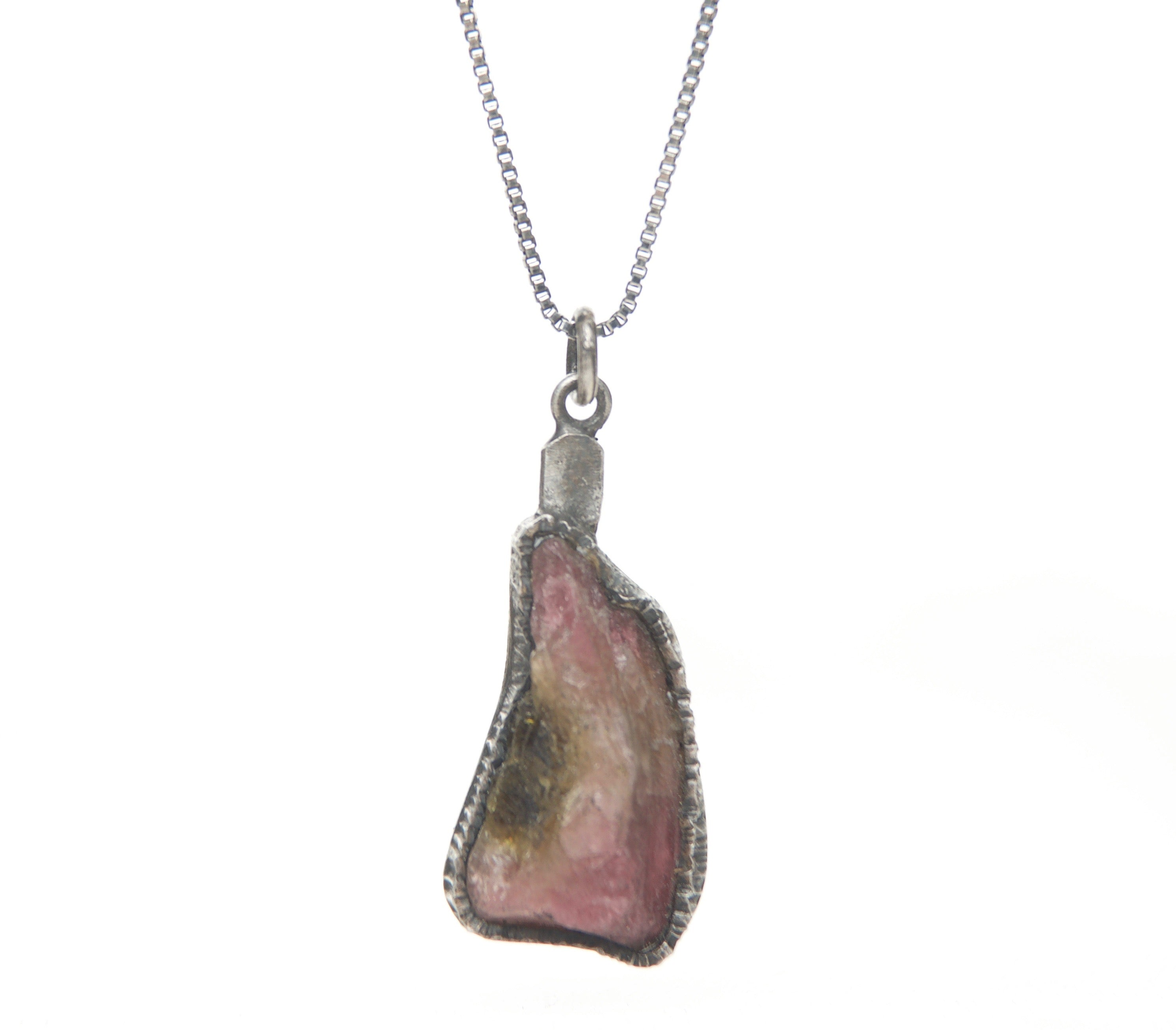 TOURMALINE PINK GREEN NECKLACE