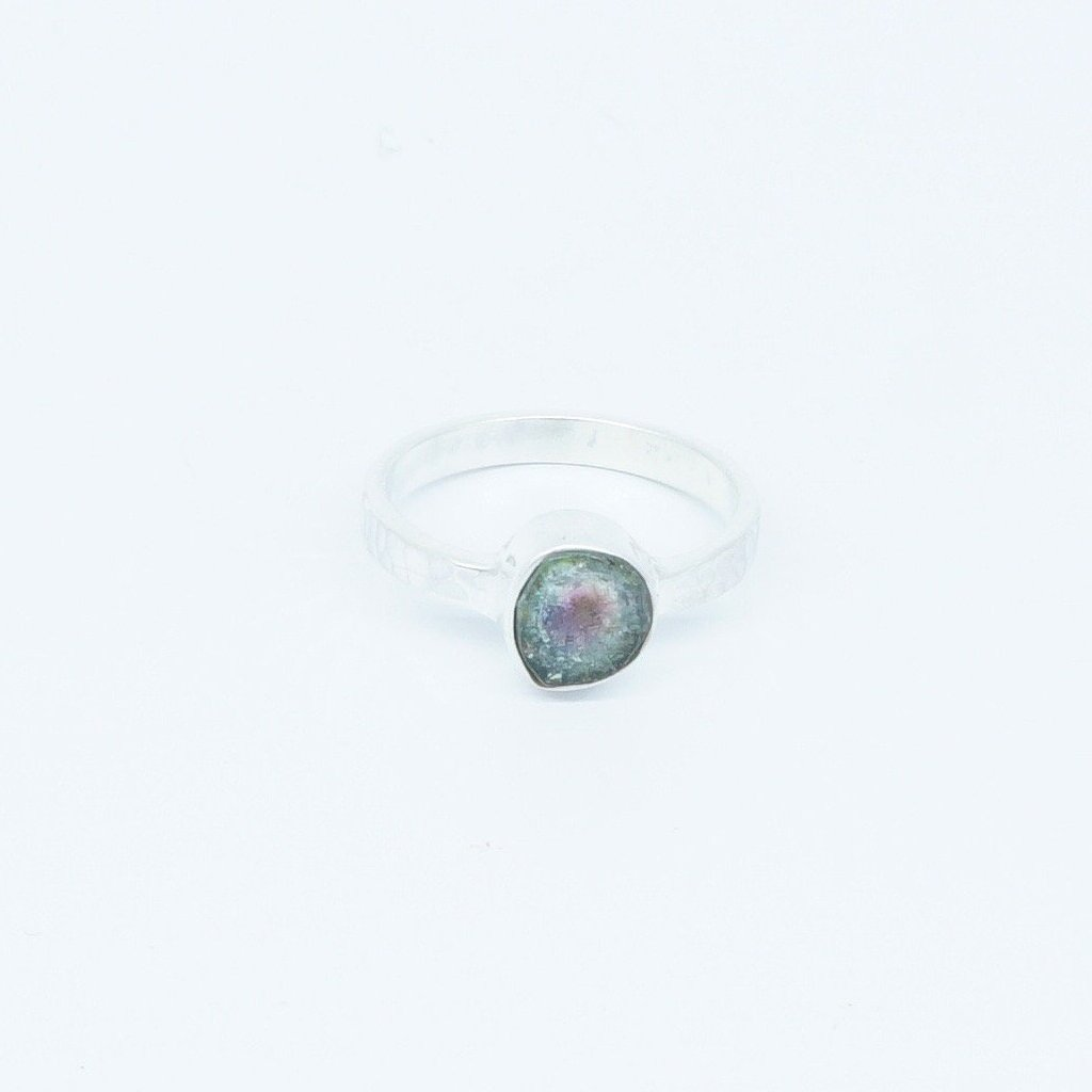 WATERMELON TOURMALINE WITH BEATEN RING