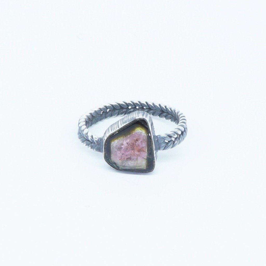 Black and pink Tourmaline spiral