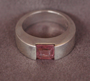 Pink Tourmaline mens ring