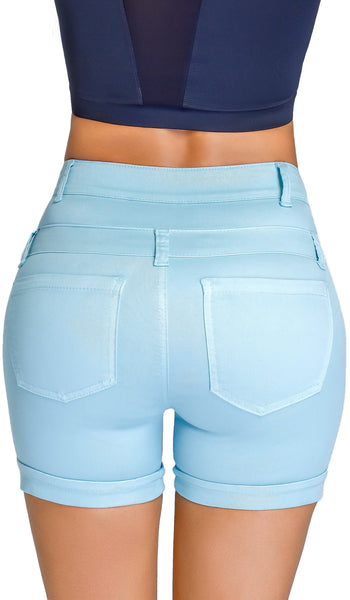 Short Levanta Cola Lowla 238847 Denim Compression Shorts - Shapes Secrets - 1