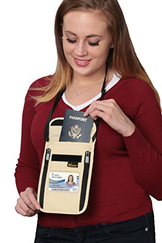 Tashke RFID Passport Neck Travel Security Wallet