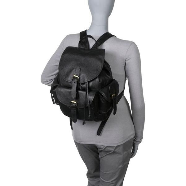 Black Leather Women's Backpack