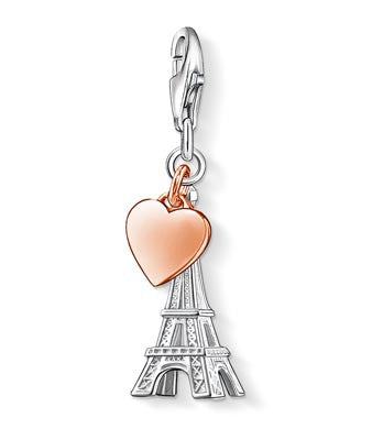 Charm Club silver eiffel tower with rose GP heart