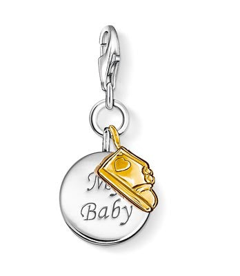Charm Club silver 'my baby' charm with gold bootie
