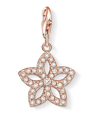 Charm Club silver flower charm with rose gold finish and CZ