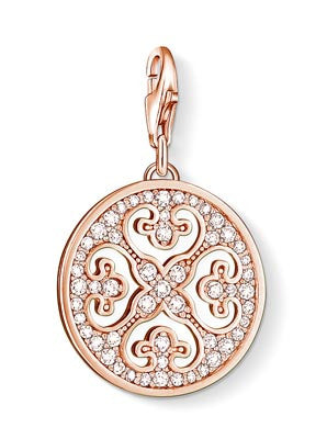 Charm Club silver arabesque disc charm with CZ and rose gold finish