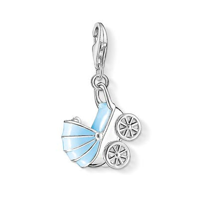 Charm Club silver pram with blue  enamel