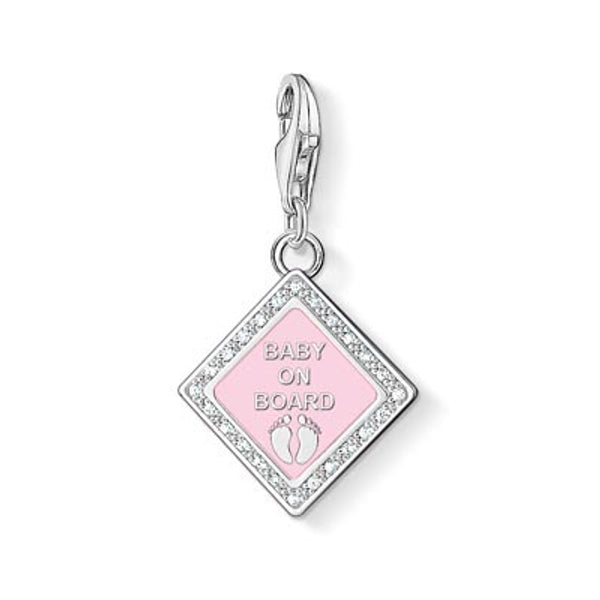 Charm Club silver Baby on Board sign with enamel and CZ