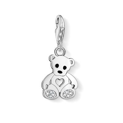 Charm Club silver teddy charm with enamel and CZ