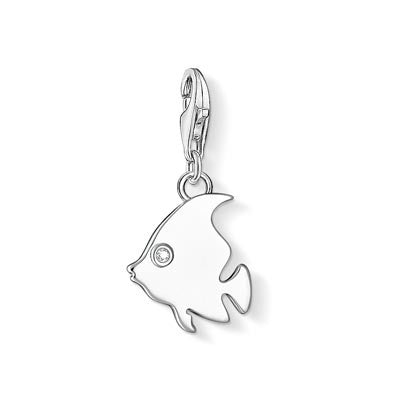 Charm Club silver fish charm with CZ