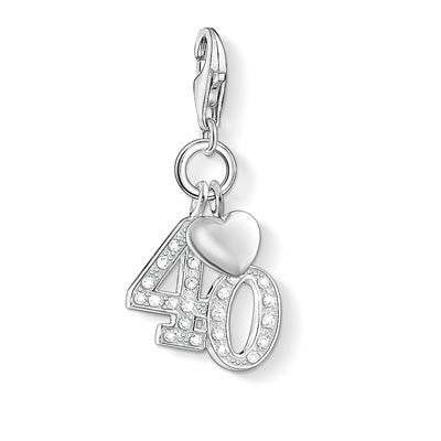 Charm Club silver 40th charm with CZ