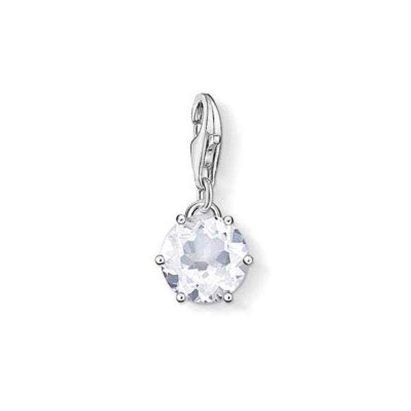 Charm Club silver April birthstone with rock crystal
