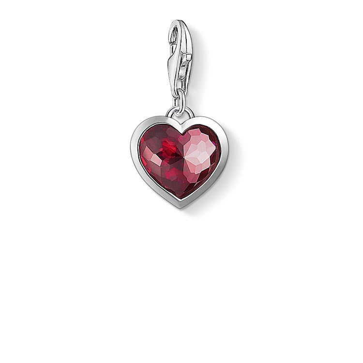 Charm Club silver heart with dark red stone