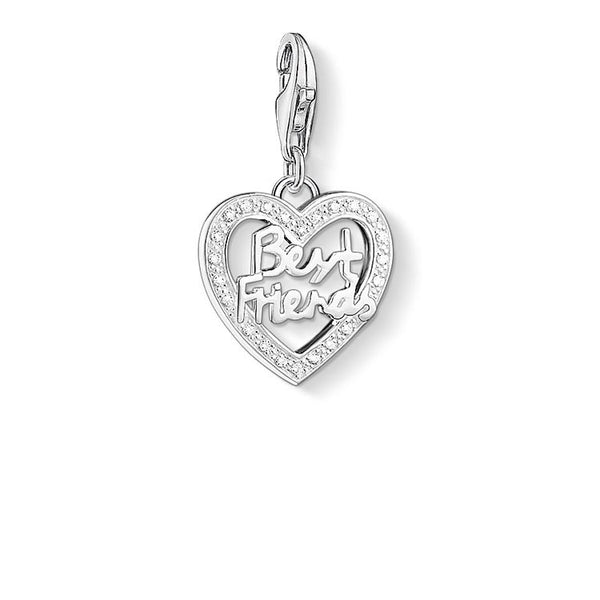 Charm Club silver best friends heart with CZ