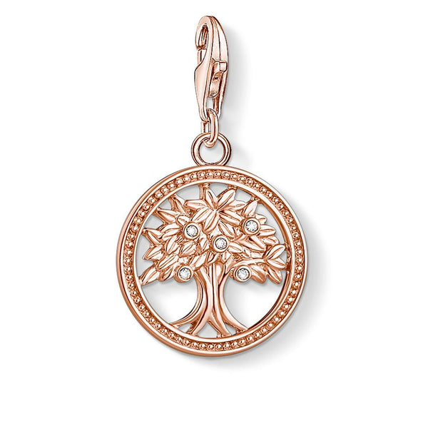 Rose gold-finish tree charm