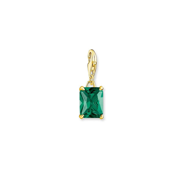 Gold-finish charm with green stone