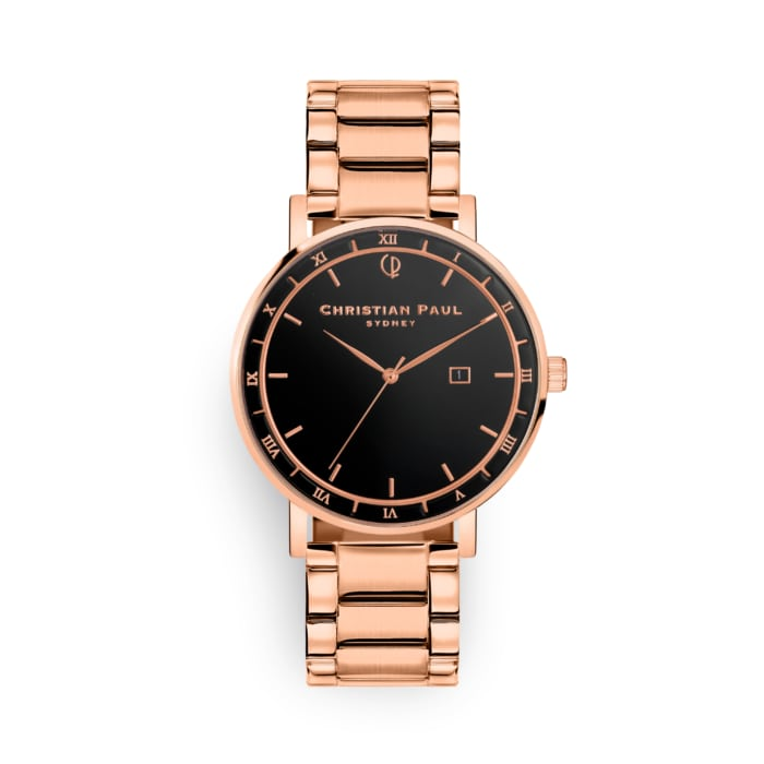 Roman numeral watch with rose band