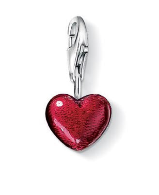 Charm Club silver heart charm with red enamel