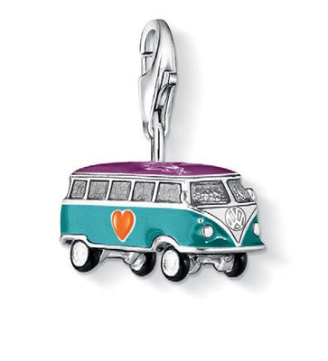 Charm Club silver Volkswagon van with enamel