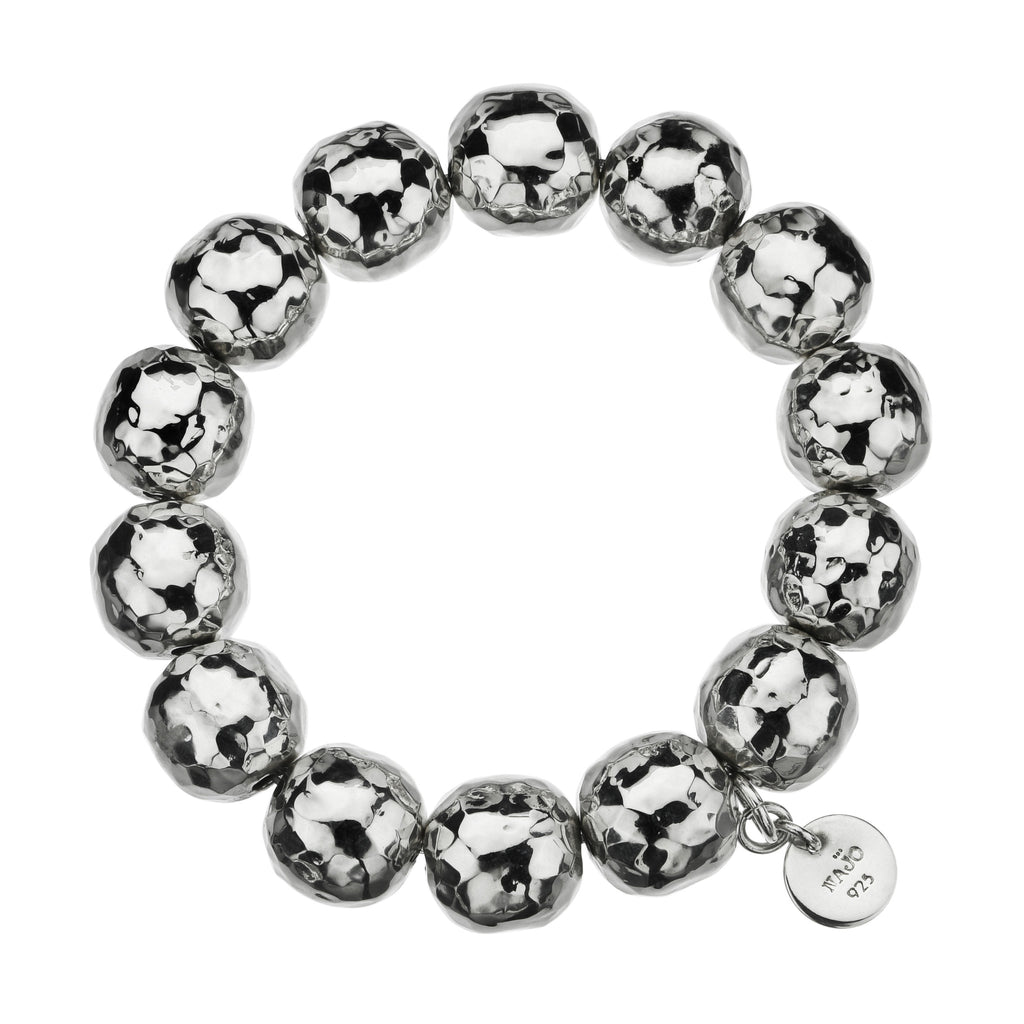Najo elasticised ball bracelet with beaten finish