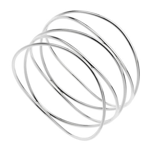 Silver bangle with twisted strand
