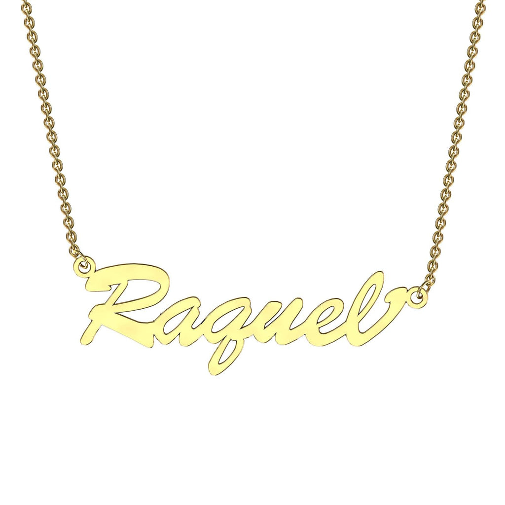 Yellow gold bold name necklace