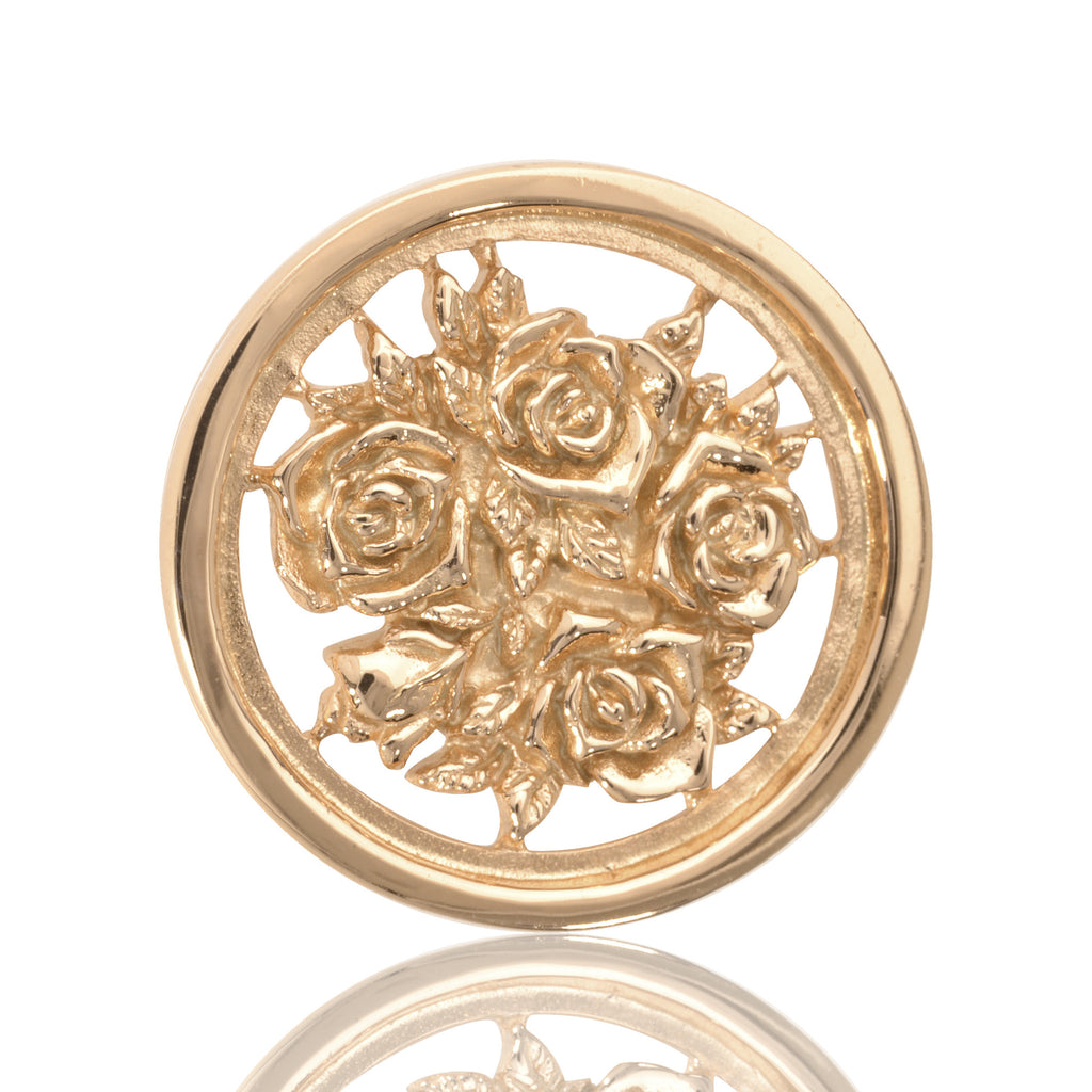 Gold finish floral coin