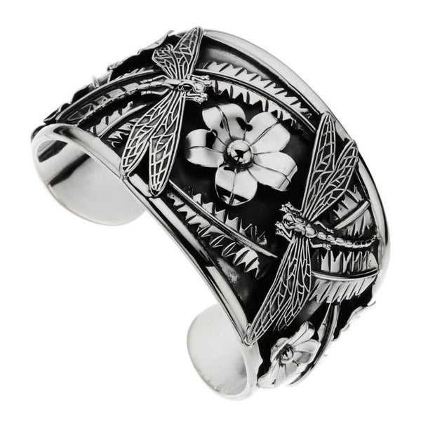 Najo chunky silver dragonfly cuff with flowers