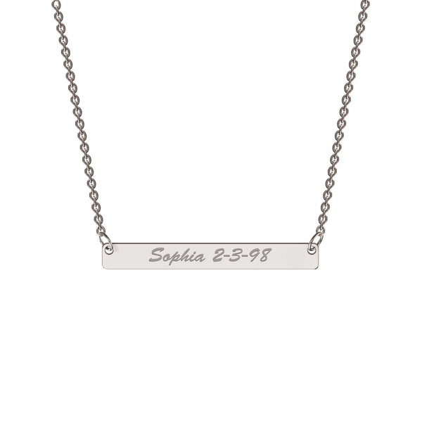 Sterling silver classic bar necklace
