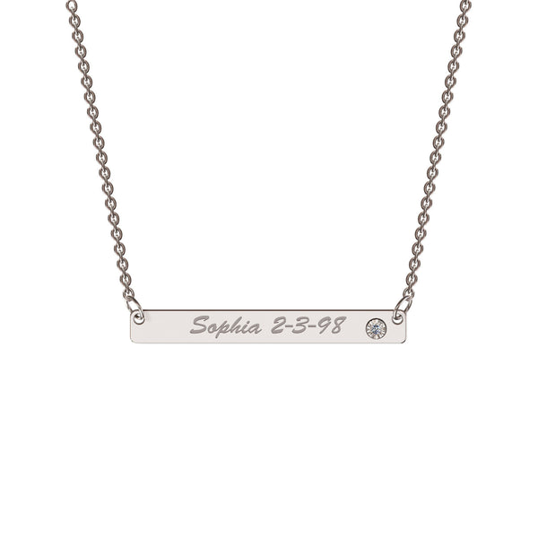Sterling silver classic bar necklace with diamond