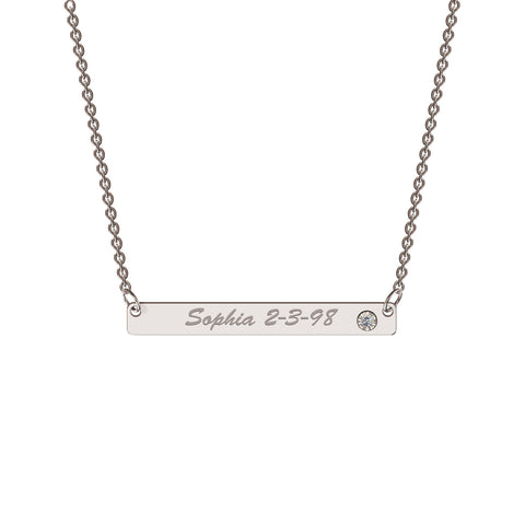 Classic Bar Necklace with Diamond