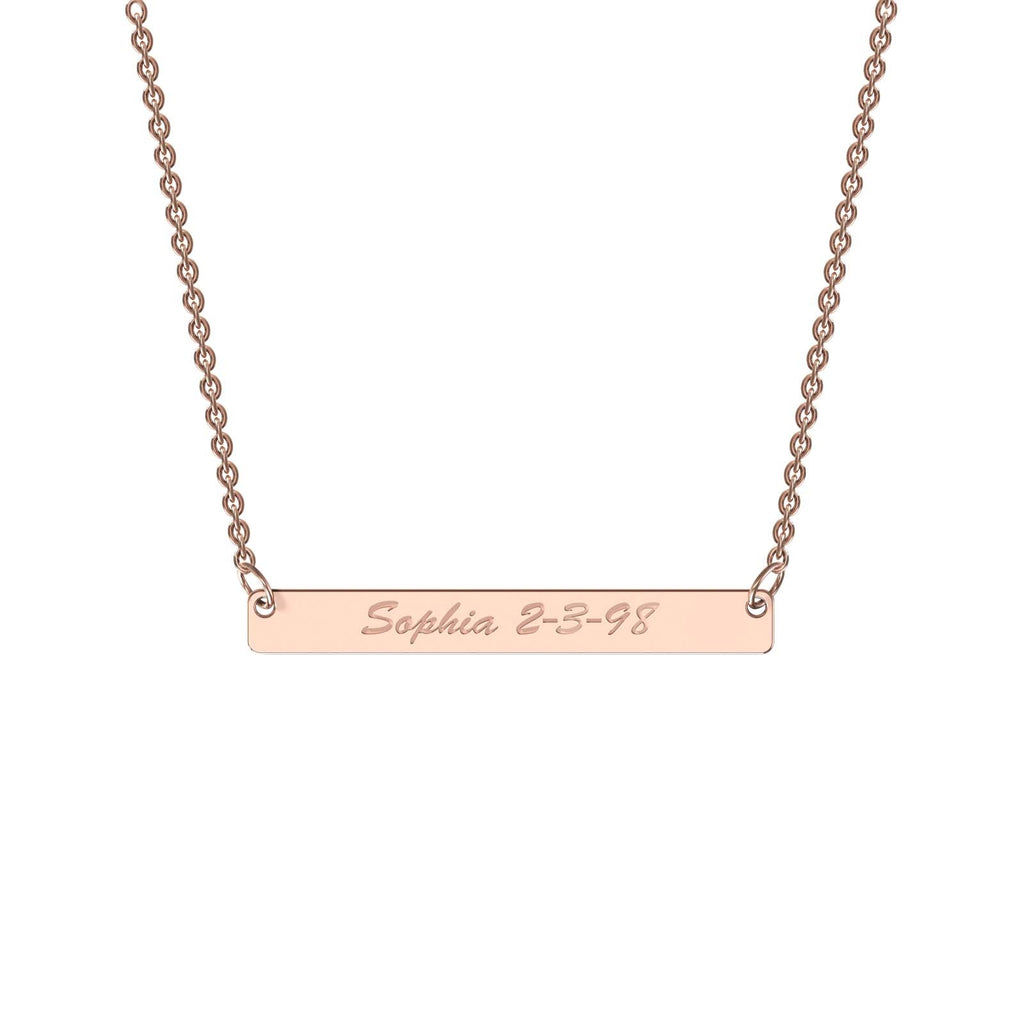 Rose gold classic bar necklace