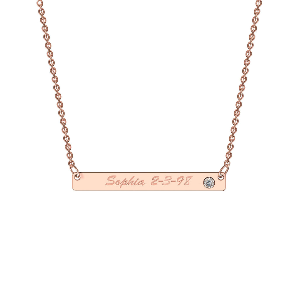 Rose gold classic bar necklace with diamond