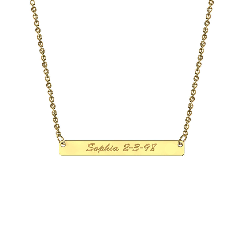 Yellow gold classic bar necklace
