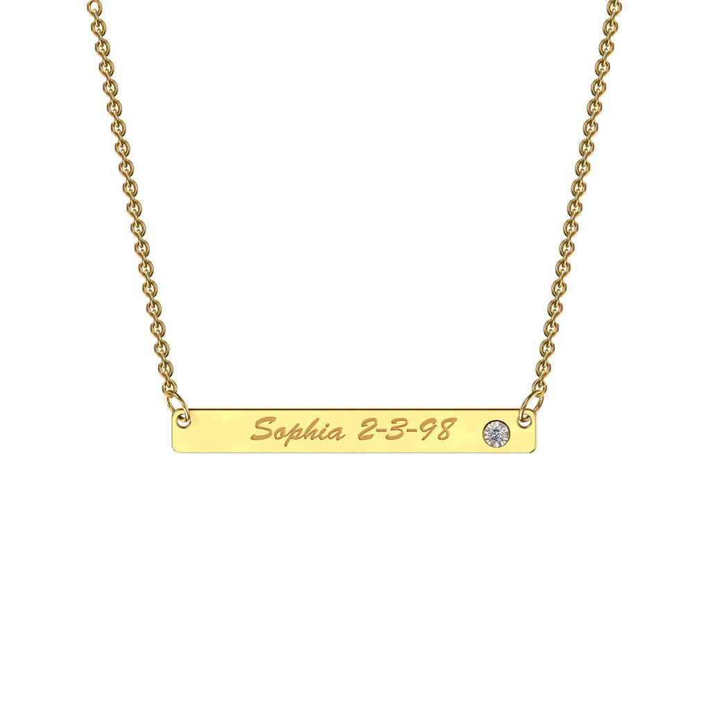 Yellow gold classic bar necklace with diamond