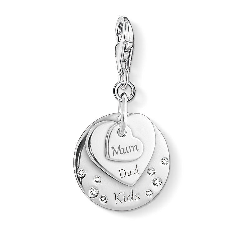 Silver family charm