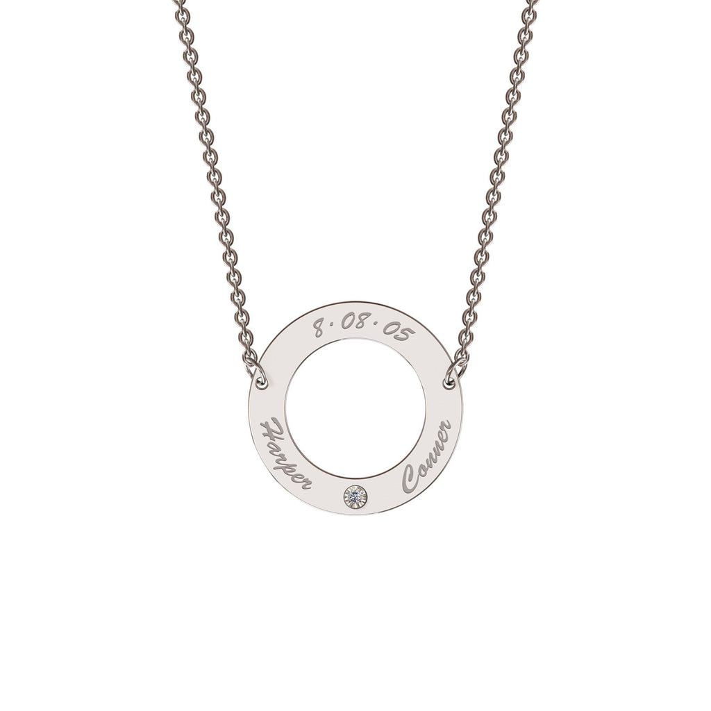 Sterling silver classic circle necklace with diamond