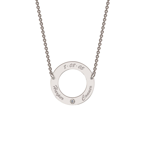 Classic Circle Necklace with Diamond