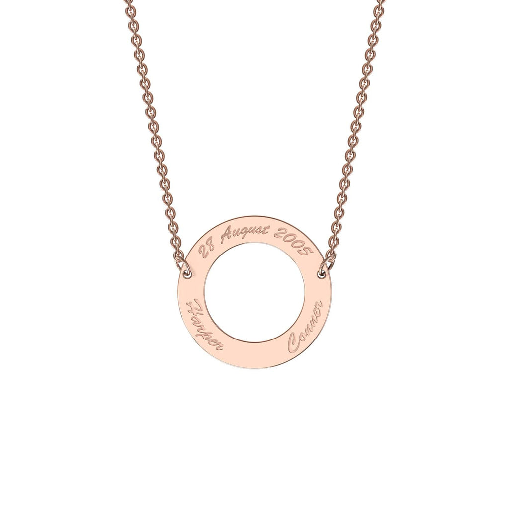 Rose gold classic circle necklace