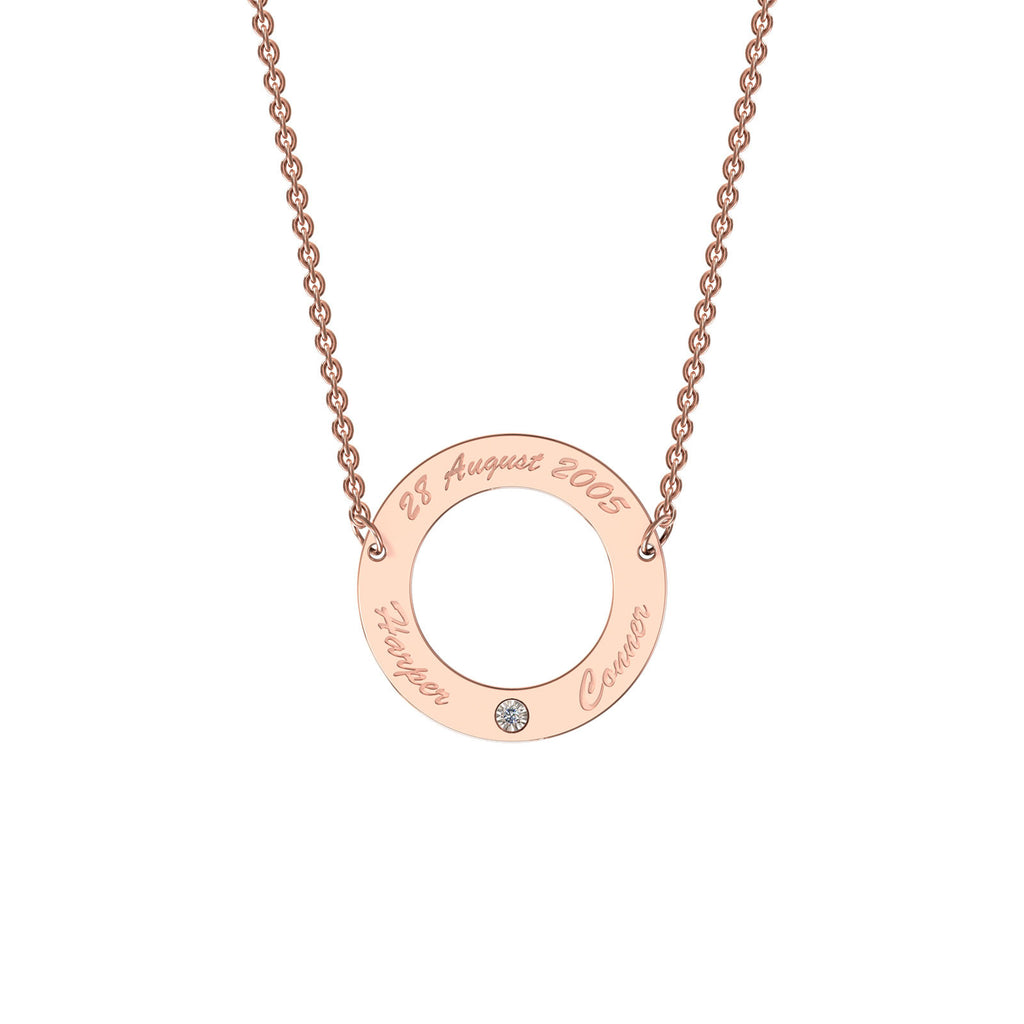 Rose gold classic circle necklace with diamond
