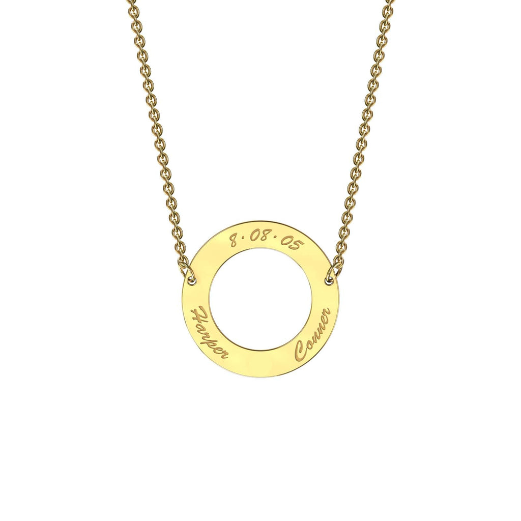 Yellow gold classic circle necklace