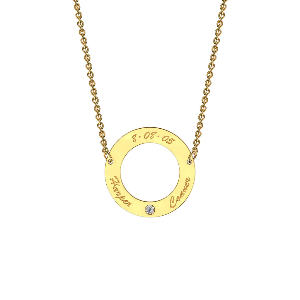 Yellow gold classic circle necklace with diamond