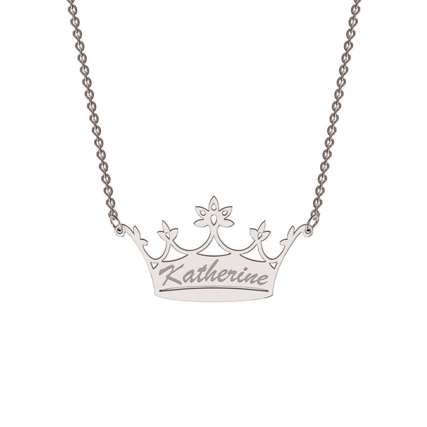 Sterling silver classic crown necklace